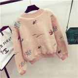 Pure Color Embroidery Faux Fur Shearling Sweater Pullover Hoodies