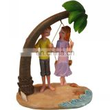 coconut tree and boys and girls figure on the beach figure sea souvenir