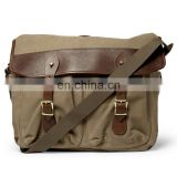 vintage leather flap canvas shoulder business bag briefcase for man briefcase