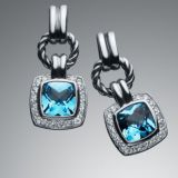 Sterling Silver Jewelry Blue Topaz Renaissance Earrings(E-030)