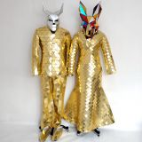 Golden Silver Colorful Disco Ball Mirror Man Dress Suit Costume for Stage Performance
