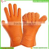 Eco-friendly silicone oven gloves BBQ and silicone kitchen tool with finger oven gloves                                                                                                         Supplier's Choice