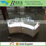 Cosmetic store furniture curved glass display counter