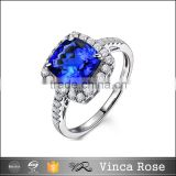 Wholesale Italian custom fashion jewellery of gold plated women silver ring for hot selling