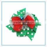 wholesale christmas decorations large ribbon bow with bell hair barrettes