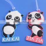 cute panda bear pvc suitcase bag name label tag with transparent strap