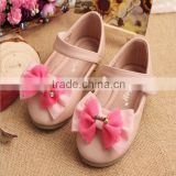 2015 New fashion girl shoes kids bow princess shoes children single shoes