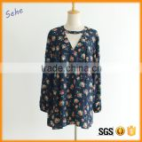 ladies navy blue long sleeve dry fit flower print autumn blouse                                                                                                         Supplier's Choice