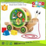 new item kids funny toy OEM snail sort roller toy educational wooden snail pull toys for child EZ5096