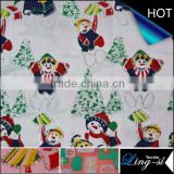 Snow Man Bronzing Satin Fabric for Christmas