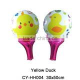 2016 Hot sale Hand Holder Yellow duck shaped foil balloon helium balloon for party decoration