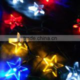 2pcs/lot Colorful solar string light with 10 star Led using for christmas,festival decoration,free shipping