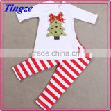 2015 New design girls clothes set t-shirt and stripes pants christmas baby clothes wholesale price TR-CA48