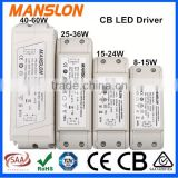 CB and India bis approval constant current 150mA 6W LED driver with 8W 12W 15W 24W LED power supply available