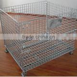 China high quality foldable wire cage , stackable storage wire mesh containers , mesh box