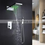 Europe bathroom shower mirror panel waterfall faucet set with colour change led showerhead,hand shower and shower mixer