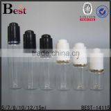 5/7/8/10/12/15ml black press cap dropper clear glass tube bottle hot stamping painting dropper container gold neck ring