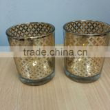 Gold color electroplate glass votives with design bowl shape