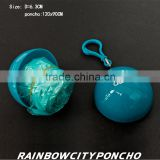 ball packed rain poncho with logo printing on both balls and rain poncho