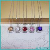 New Arrival Wholesale Jewelry 925 Sterling Silver Female Micro Pave Square Diamond Necklace