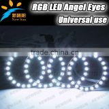 4 x 75mm Multi-color change led auto halo rings,factory sale cheap SMD 5050 12V led angel eyes RGB color with remote control