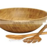 International Bamboo Salad Bowl with Salad Servers spoon and fork