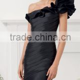 Cheap free shipping customize one shoulder mermaid black mother of the bride dresses CWFamm3919