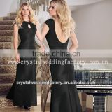 2013 unique cap sleeve floor length ruched black vintage mother of the bride dresses CWFam5081