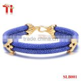 new products 2016 genuine blue stingray fish leather bracelet gold arrow flower charm silver stainelsee steelbulk buy from china