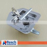 Truck Trailer Flush Mount Polished Stainless Steel Key-Locking Recessed T Handle Toolbox Drawer Locks