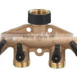 garden hose connector, Brass Hose Faucet Manifold,brass 4 way connector