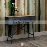 simple design with iron legs particle board rustic style antique furniture