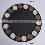 Round Glass bead place mat with circular patterns available in more colours and patterns