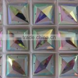 AB square crystal beads glass element sew on clothing embellishments flatback fancy stone