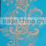 Most popular high quality embroidery gold applique lace flower work bed sheet
