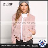 MGOO Custom Made 2017 Pink Corduroy Women Jackets Plain Zip Up Bomber Jackets For Spring Coat Fashion Streetwear