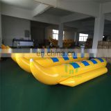 high quality 0.9mm pvc infalatable banana boat ,inflatable water game toy , used giant water banana boat for sale