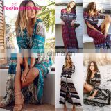 Hot Sale Fashion Elegant Sexy Boho Evening Print Women Maxi Dress