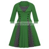 Hanna Nikole Retro Vintage Plus Size 3/4 Sleeve Dark Green Polka Dots patchwork Cocktail Party Swing Dress HN0028-3