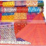 King Bedspread Patola Silk Patch Handmade Kantha Work Quilt Blanket India handmade Bedspreads,Throws silk kantha quilted ethnic