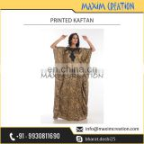 New Design Printed Kaftan with Black Neck Border at Lowest Market Price