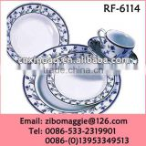 Professional Hot Sale Beautiful Flower Print Round Porcelain Cheap Restaurant Dinnerware Set