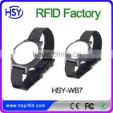 HSY-WB7 2016 Popular Passive Entirely Black Nylon RFID Wristband Clickable RFID Bracelet