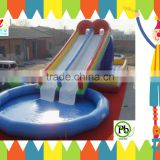 0.6mm non-toxic pvc inflatable water park with big inflatable swimming pool and dual water slides
