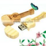 Promotional gift guitar style wooden USB Flash Drive 16GB 32GB pen drive, Custom Wooden USB flash drive for Wedding