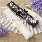 Luxurious Silk Fold hand Fan in Elegant Laser gift box Wedding Fan Favors Gifts