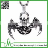 Factory price custom jewelry hip hop men pendant with wings unique design skull stainless steel pendant                                                                                                         Supplier's Choice
