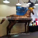 Modern Replica Moooi Golden Fighting Fiberglass Horse Floor lamp suspension for dinning room restaurant decoration PLF8081