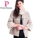 2015 Women Winter Short Embroidered Coats With Beaver Rabbit Skin Collar Detachable Cuff