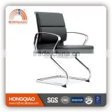CV-B02BS-1 short back visitor chair leather cover visitor chair aluminum arms office chair
